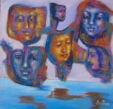 contemporary Acrylic Art Painting title Are we connected by artist Purnima Gupta