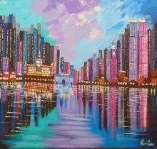 Purnima Gupta Paintings | Cityscape Painting - Mumbai Skyline by artist Purnima Gupta | ArtZolo.com