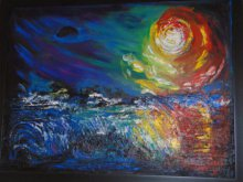 Expressionist Mixed-media Art Painting title 'Mystic Moon' by artist Purnima Gupta