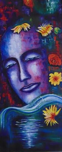 Mixed Media Painting titled 'Crown Chakra' by artist Purnima Gupta on Canvas