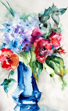 Insolence en vase clos | Painting by artist Veronique Piaser-moyen | watercolor | Paper