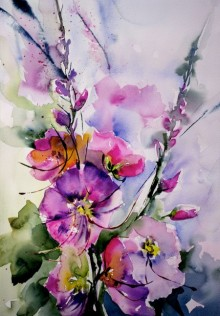 Veronique Piaser-moyen | Watercolor Painting title Passeroses on Paper | Artist Veronique Piaser-moyen Gallery | ArtZolo.com