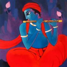 Sekhar Roy | Acrylic Painting title Krishna vii on Canvas | Artist Sekhar Roy Gallery | ArtZolo.com