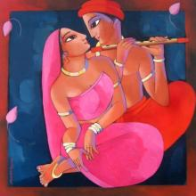 Cubist Acrylic Art Painting title 'Romantic Couple' by artist Sekhar Roy