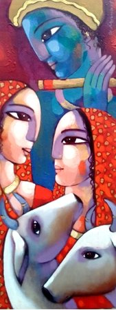 Figurative Acrylic Art Painting title Leela by artist Sekhar Roy