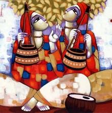 Figurative Acrylic Art Painting title Baul by artist Sekhar Roy