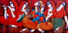 Figurative Acrylic Art Painting title 'Baul 1' by artist Sekhar Roy