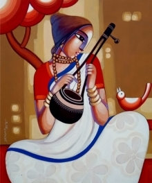 Figurative Acrylic Art Painting title 'Baul 10' by artist Sekhar Roy