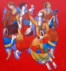 Figurative Acrylic Art Painting title 'Baul 2' by artist Sekhar Roy