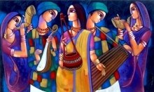 Figurative Acrylic Art Painting title 'Baul 3' by artist Sekhar Roy