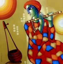 Sekhar Roy | Acrylic Painting title Baul 5 on Canvas | Artist Sekhar Roy Gallery | ArtZolo.com