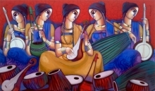Figurative Acrylic Art Painting title 'Baul 7' by artist Sekhar Roy