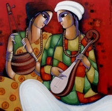 Figurative Acrylic Art Painting title 'Baul 8' by artist Sekhar Roy