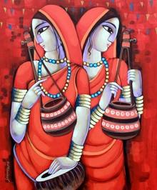 Figurative Acrylic Art Painting title Bengali Tune 11 by artist Sekhar Roy
