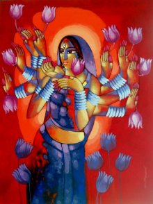 Figurative Acrylic Art Painting title 'Durga' by artist Sekhar Roy
