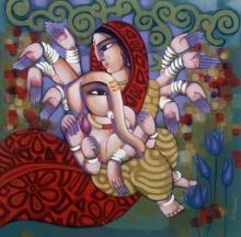 Religious Acrylic Art Painting title Ganesh Janani by artist Sekhar Roy