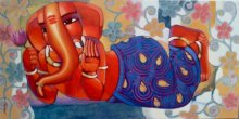 Figurative Acrylic Art Painting title 'Ganesha 4' by artist Sekhar Roy