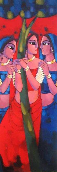 Figurative Acrylic Art Painting title 'Gopiya' by artist Sekhar Roy
