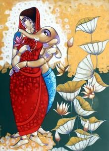 Religious Acrylic Art Painting title Janani by artist Sekhar Roy