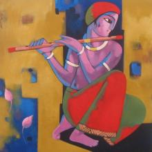 Sekhar Roy | Acrylic Painting title Krishna on Canvas | Artist Sekhar Roy Gallery | ArtZolo.com