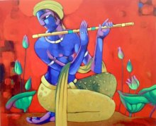 Figurative Acrylic Art Painting title 'Krishna' by artist Sekhar Roy