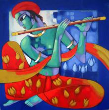 Sekhar Roy | Acrylic Painting title Krishna II on Canvas | Artist Sekhar Roy Gallery | ArtZolo.com