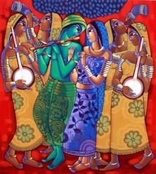 Religious Acrylic Art Painting title Leela by artist Sekhar Roy