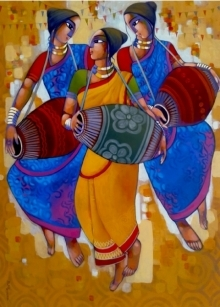 Figurative Acrylic Art Painting title 'Mridanga' by artist Sekhar Roy