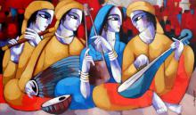 Figurative Acrylic Art Painting title 'Music VI' by artist Sekhar Roy