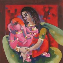 Sekhar Roy | Acrylic Painting title My Mother 1 on Canvas | Artist Sekhar Roy Gallery | ArtZolo.com