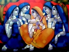 Figurative Acrylic Art Painting title 'Purbaraag' by artist Sekhar Roy
