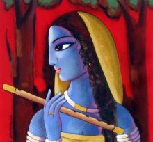Figurative Acrylic Art Painting title 'Radha' by artist Sekhar Roy