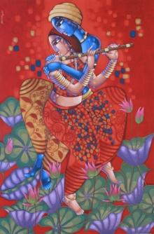 Religious Acrylic Art Painting title Romantic Couple 2 by artist Sekhar Roy