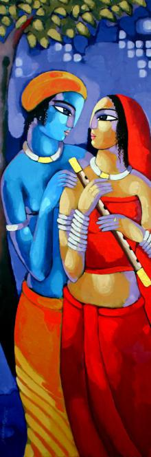 Sekhar Roy | Acrylic Painting title Romantic Couple IV on Canvas | Artist Sekhar Roy Gallery | ArtZolo.com
