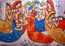 Figurative Acrylic Art Painting title 'Symphony' by artist Sekhar Roy