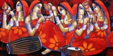 Figurative Acrylic Art Painting title 'Symphony 1' by artist Sekhar Roy