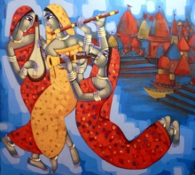 Figurative Acrylic Art Painting title 'Tune Of Banaras' by artist Sekhar Roy