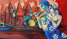 Religious Acrylic Art Painting title Tune Of Banaras by artist Sekhar Roy