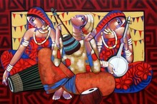Figurative Acrylic Art Painting title 'Tune Of Bengal 4' by artist Sekhar Roy