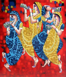 Figurative Acrylic Art Painting title 'Symphony Of Happiness' by artist Sekhar Roy