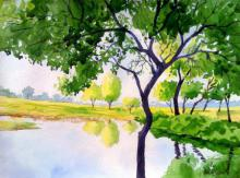 Landscape Watercolor Art Painting title 'A Quiet Place' by artist Rahul Salve