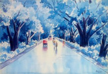 Cityscape Watercolor Art Painting title 'After A Rain' by artist Rahul Salve