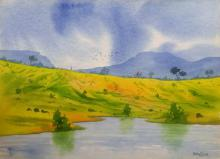 Landscape Watercolor Art Painting title 'Amenity ' by artist Rahul Salve