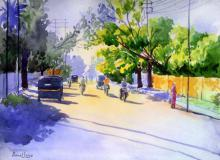 Cityscape Watercolor Art Painting title 'Golden Light I' by artist Rahul Salve