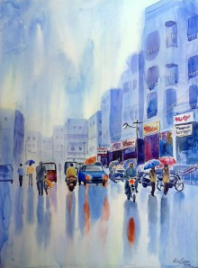 Cityscape Watercolor Art Painting title 'Monsoon' by artist Rahul Salve