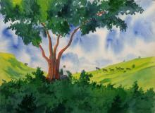Landscape Watercolor Art Painting title 'Nature's Vicinity' by artist Rahul Salve