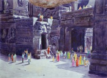Place Watercolor Art Painting title 'One fine day at the ellora caves II' by artist Rahul Salve