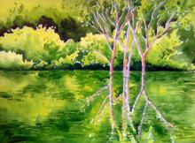 Landscape Watercolor Art Painting title 'Reflection' by artist Rahul Salve