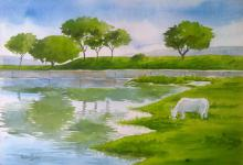 Landscape Watercolor Art Painting title 'Serenity' by artist Rahul Salve