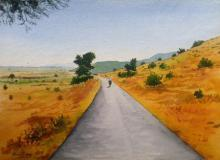 Landscape Watercolor Art Painting title 'Skywards' by artist Rahul Salve